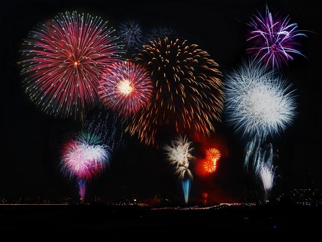 洞爺湖温泉冬まつり2019!済んだ夜空の打ち上げ花火